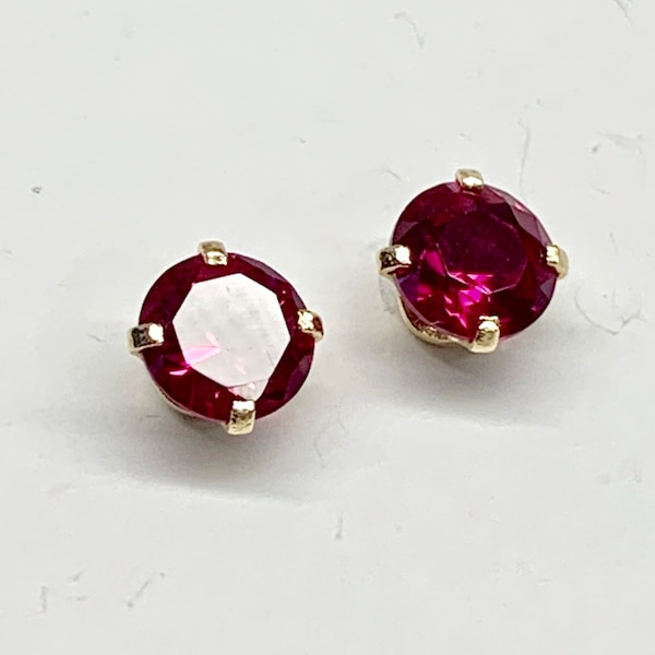 Genuine 14k Yellow Gold Ruby Stud Earrings ee42ce2b-108a-4bc7-b32c-3a610c869d2c