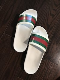 Authentic white-red-green Gucci slide sandals Lyndhurst, 07071