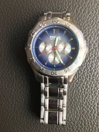 round silver chronograph watch with silver link bracelet Midwest City, 73130
