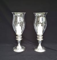 Gorham Silver Co, Colonial Hurricane Candle Holders (2), YC3003, Silverplate, Holloware, Vintage Hampton
