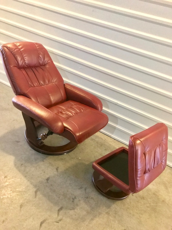 Astounding Benchmaster Kyle Ruby Red Leather Reclining Swivel Chair W Ottoman Storage Creativecarmelina Interior Chair Design Creativecarmelinacom