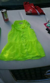 girl's neon green button-up sleeveless top West Point, 31833