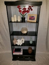 Shelving unit refinished with drawer pained with chalk paint