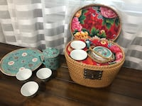 Chinese ceramic tea set-includes basket, tea pot, 5 cups,matching plate and canister  Holbrook, 11741