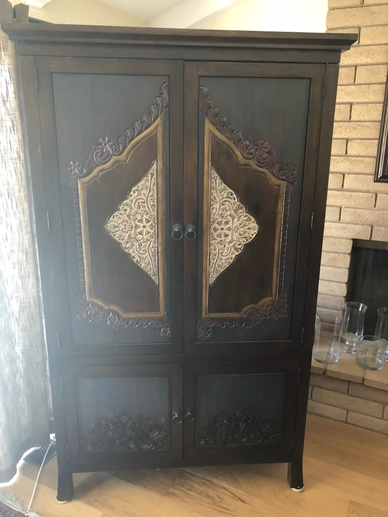 Delicieux Entertainment Armoire Cabinet Indonesian Wood Carved Style. Pier 1 Imports