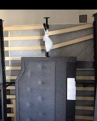 Full bed frame with mattress and box spring