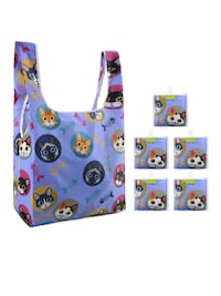 2 Big Grocery Reusable Purple Cat Bag HOLDS 50pds Manchester, 03103