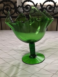 Green Glass Fluted Pedestal Compote Vase Candy Dish Made in Italy Arlington, 22206