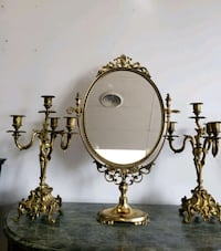 Solid brass mirror and two candelabras  Aurora, L4G 7Y1