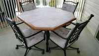 rectangular brown wooden table with four chairs dining set McKees Rocks, 15136