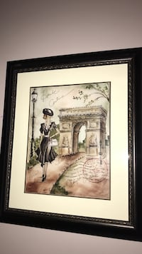 Arch de triumph and woman walking painting with black wooden frame Hacienda Heights, 91745