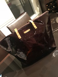 brown patent leather tote bag