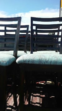 six black wooden blue padded chairs Sweet Water, 36782