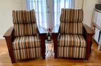 Two Matching Recliners - recently upholstered.