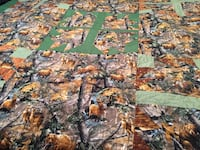 Brown, gray and black real tree camouflage area rug Long View, 28601