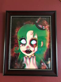 Limited edition original digital painting artwork of shiny the clown girl framed glossy art print East Northport, 11731