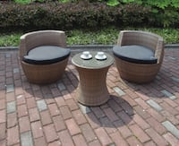 New 3 pcs Patio Outdoor Chair Side Table Set Pomona, 91789