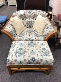 Beautiful wood and cushion chair with ottoman 299 mi