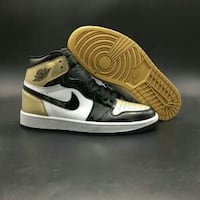 black-white-and-brown Air Jordan 1 shoes