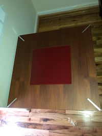 Wood End Table with Red Glass Center 532 mi