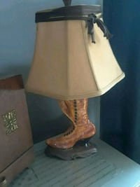 brown wooden base white shade table lamp Tulsa, 74145