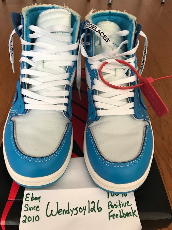 half off 0f34a 6a5eb Nike Off White UA Air Jordan 1 UNC Colorway Men's Size 10.5 Very Near Dead  Stock (VNDS)