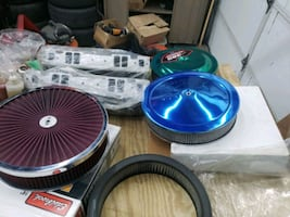 Air cleaners $20 to 70. Edelbrock  SBC intake $120 valve covers $10 +