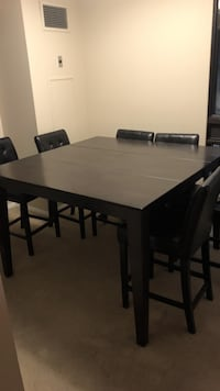 rectangular brown wooden table with six chairs dining set Toronto, M5A 3A8
