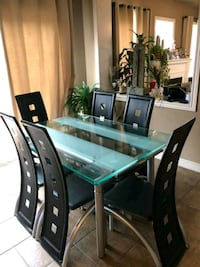 rectangular glass top table with 6 chairs dinin Ajax, L1Z 2C4