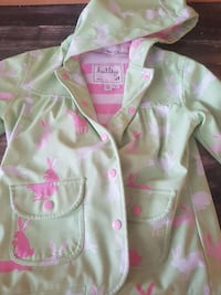 multi bunny print teal and pink Hatley button-up hooded coat Sherbrooke, J1L