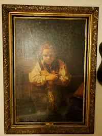 Girl with broom h. Rembrandt wall painting antique Edison, 08837