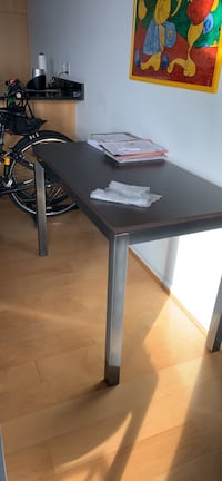 black and gray wooden table