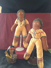 Pair of Native American Cloth Dolls on Stands Henderson, 89015