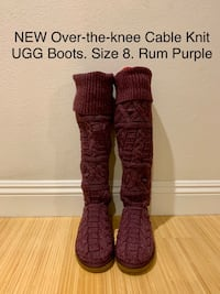NEW Over-the-knee Cable Knit UGG Boots. Size 8. Rum Purple Los Angeles, 90025