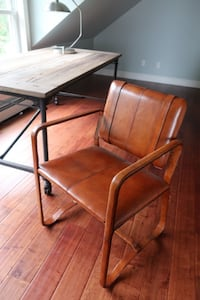Restoration Hardware Leather Buckle Chair. Cape Elizabeth