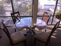Glass table with 4 cherry wood chairs - obo San Diego, 92131