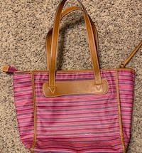 Fossil Pink Striped Canvas Tote Bag Purse Des Moines, 50313