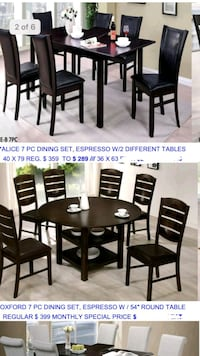 round brown wooden table with four chairs dining set Santa Ana