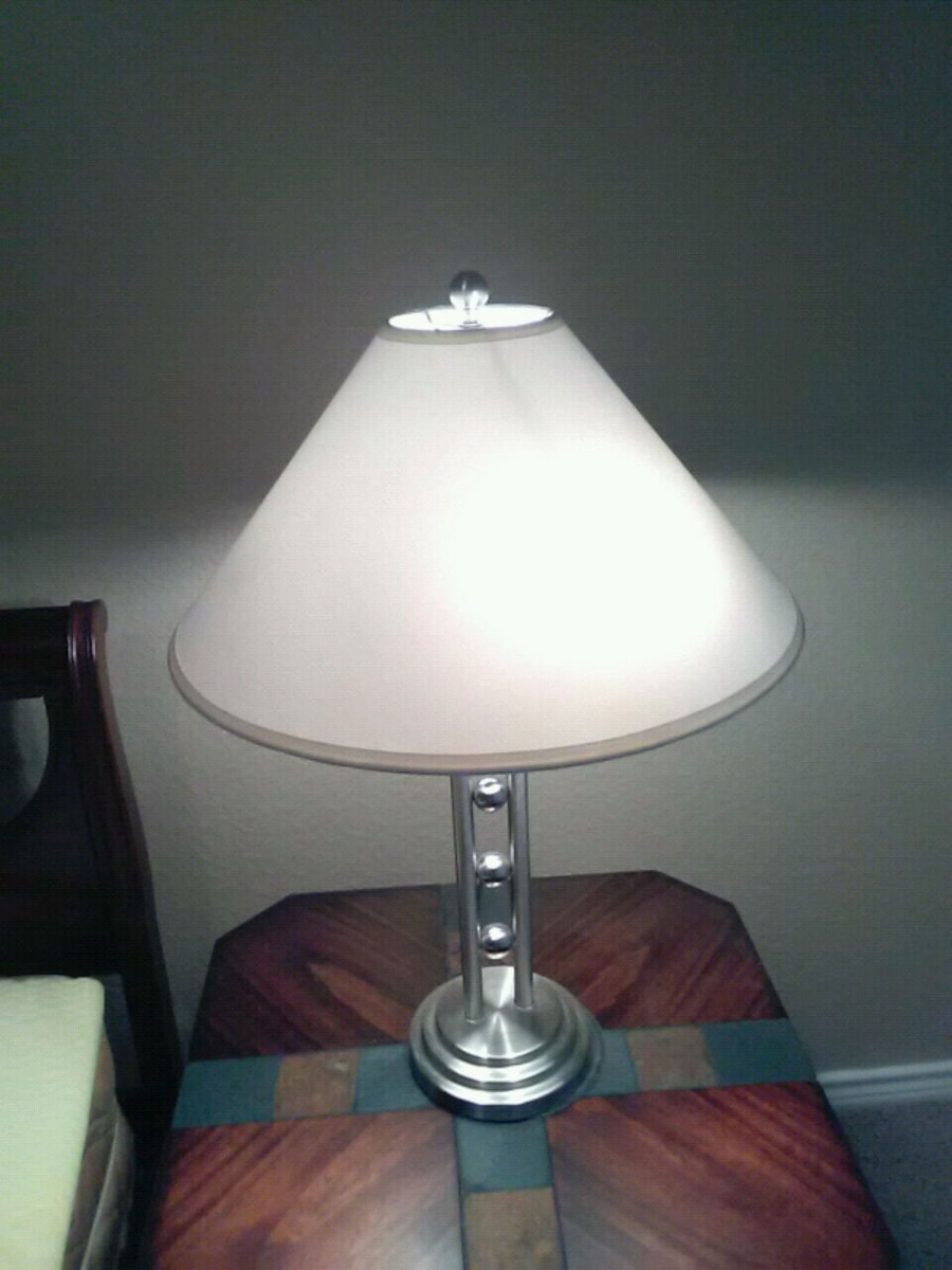 Table Lamp. Silver Base. Light White Lampshade