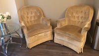 two brown wooden framed padded armchairs Edmonton, T5X 0G1