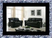Black bonded sofa and loveseat Herndon, 20171