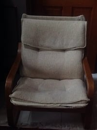 Brown wooden framed gray padded armchair Hamilton, L8M 2Y2