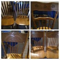 5 Solid Oak Chairs. Make an offer for all or 1. 2 sets of 2, and 1 odd Edmonton, T5A