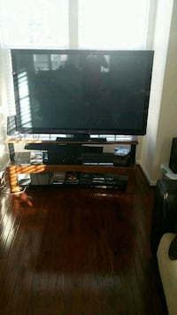Wood and glass tv stand Brambleton