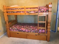 Bunk bed, solid wood, single beds, under storage drawers, pick up in NW