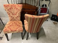 Two brown wooden framed red padded chairs Woodbridge, 22192