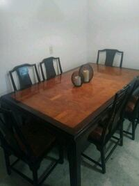 rectangular brown wooden table with six chairs dining set Cuyahoga Falls, 44224