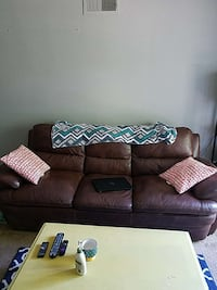 brown leather 3-seat couch Kansas City, 64138