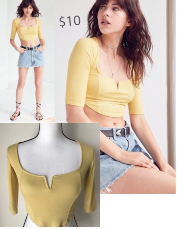 Urban Outfitters Yellow Crop Top dcf5a7bf-b748-4d33-997b-7c821fa043c8
