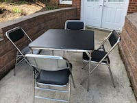 "Card Table (34"" Square) & 4 Chairs; Vinyl Seats & Tabletop; Foldable Table; Excellent Quality; Excellent Condition Clear Spring, 21722"